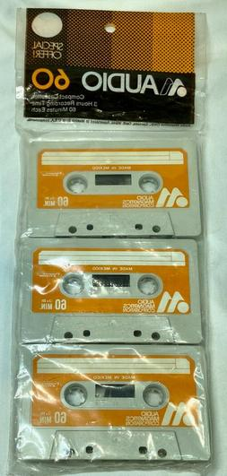 Audio Magnetics Corp Audio 60 Blank Cassette Tapes-3 Pack NI