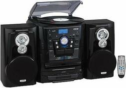 Jensen Shelf Stereo System with Record Player, 3 CD Changer