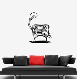 Wall Decal Cassette Recorder Boxer Sports Athlete Boxing Vin